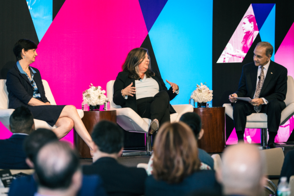 From left: Marta Tellado, president and CEO of Consumer Reports; Yasmine Winkler, CEO of central region and chief consumer officer for Unitedhealthcare Community & State; and moderator Michael Montelongo, president and CEO of GRC Advisory Services.