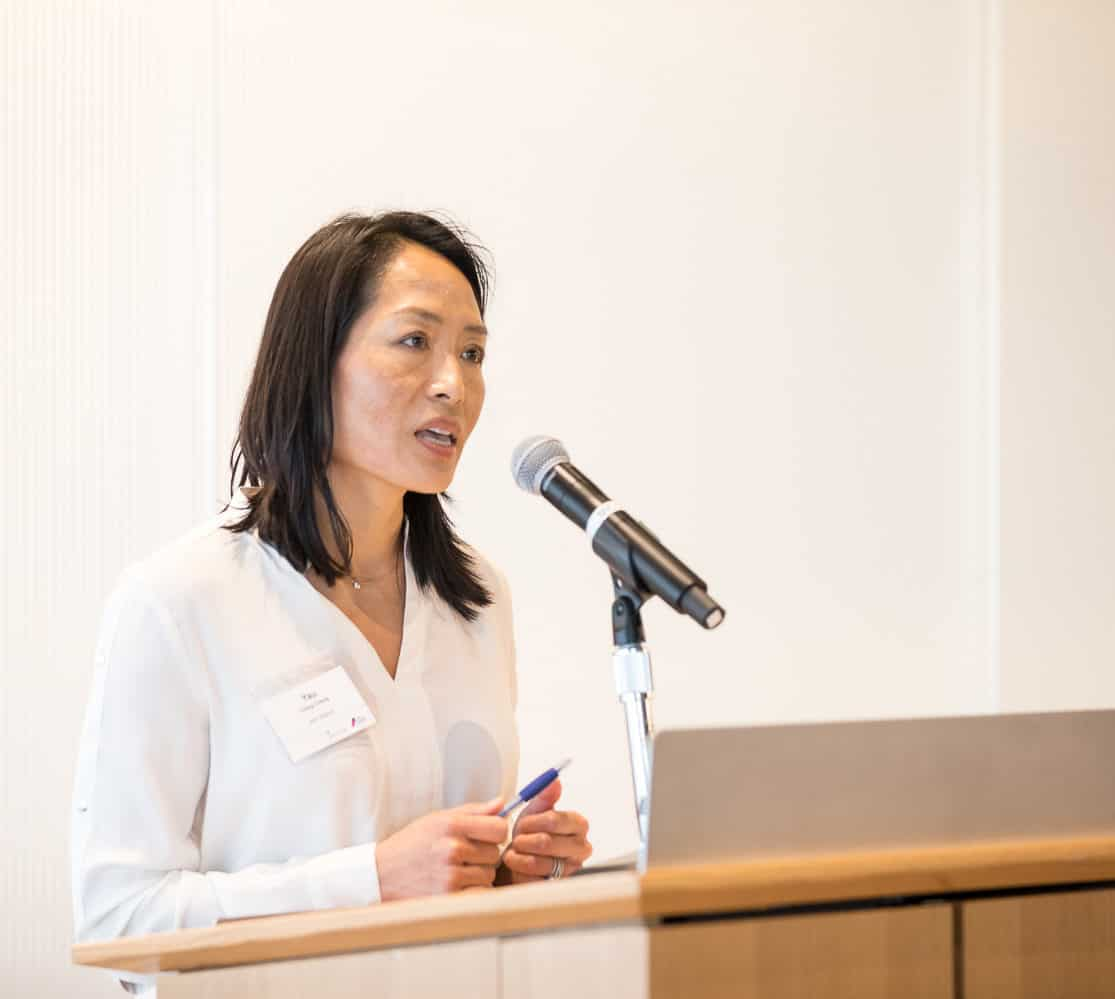 Yau Cheng, BNY Mellon, speaking at Society Connect event April 2019