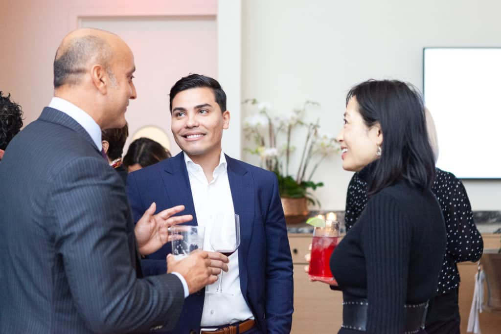 People talking at BNY Mellon's Alumni Society Influencers Dinner October 16, 2019