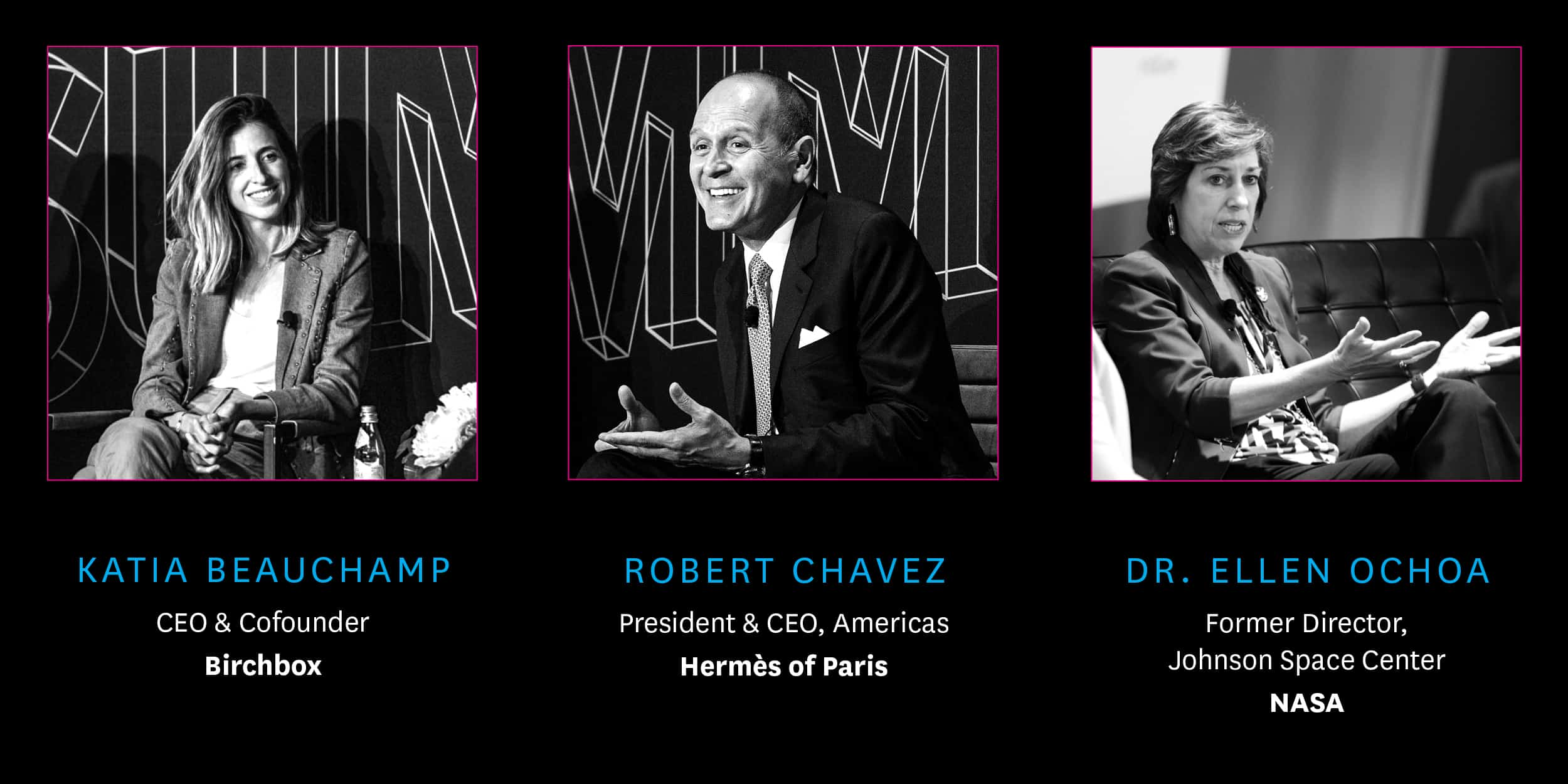 Past Speakers Katia Beauchamp, Robert Chavez, and Ellen Ochoa