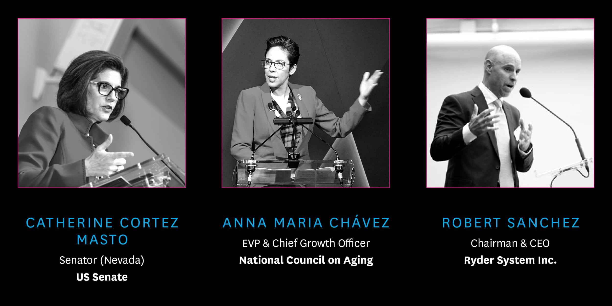 Past Speakers Senator Catherine Cortez Masto, Anna Maria Chavez, and Robert Sanchez
